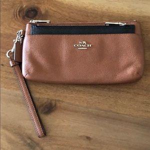 Coach brown/black wristlet wallet
